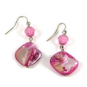 Beautiful Vintage Pink Abalone Shell Earrings